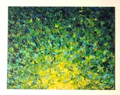 RESERVED - Original Acrylic Painting. Abstract Irish Sunrise FREE SHIPPING Shades of Lime Kelly Forest Hunter Green Yellow Blue Teal 14 x 18