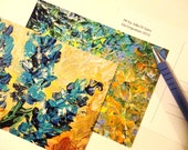 SALE - 2 ART POSTCARDS Set of 2 Lovely Floral Abstract Prints of Ooak Acrylic Paintings Aceo Art Stunning Blue Yellow Green Rust For Her Mom