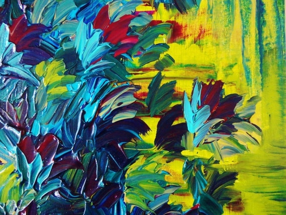 SALE - Floral Abstract Painting Nature Lover Garden Flowers FREE SHIPPING Acrylic Art, 12 x 12  Purple Blue Green Citron Lime Magenta Yellow
