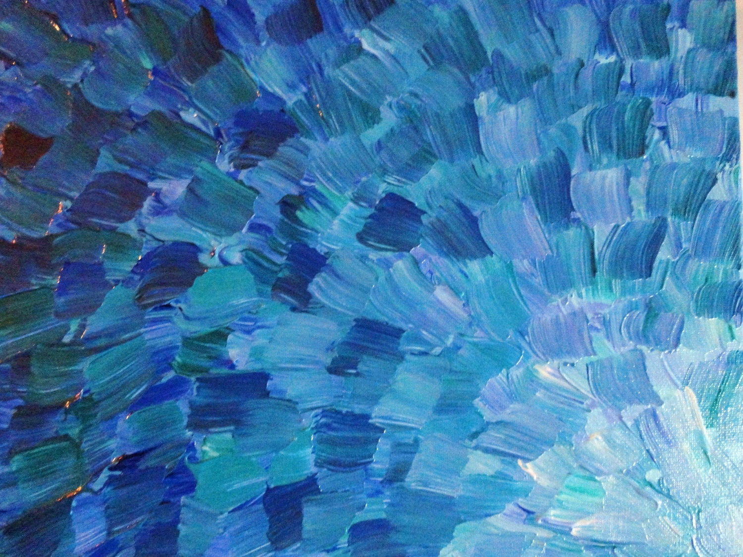 Original acrylic painting abstract sea scales mixed blue green for Blue paintings on canvas