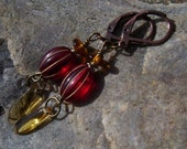 RED and Amber Czech Glass Dangle Earrings