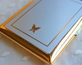 Vintage Gold Rimmed Cigarette Case with Butterfly Detail