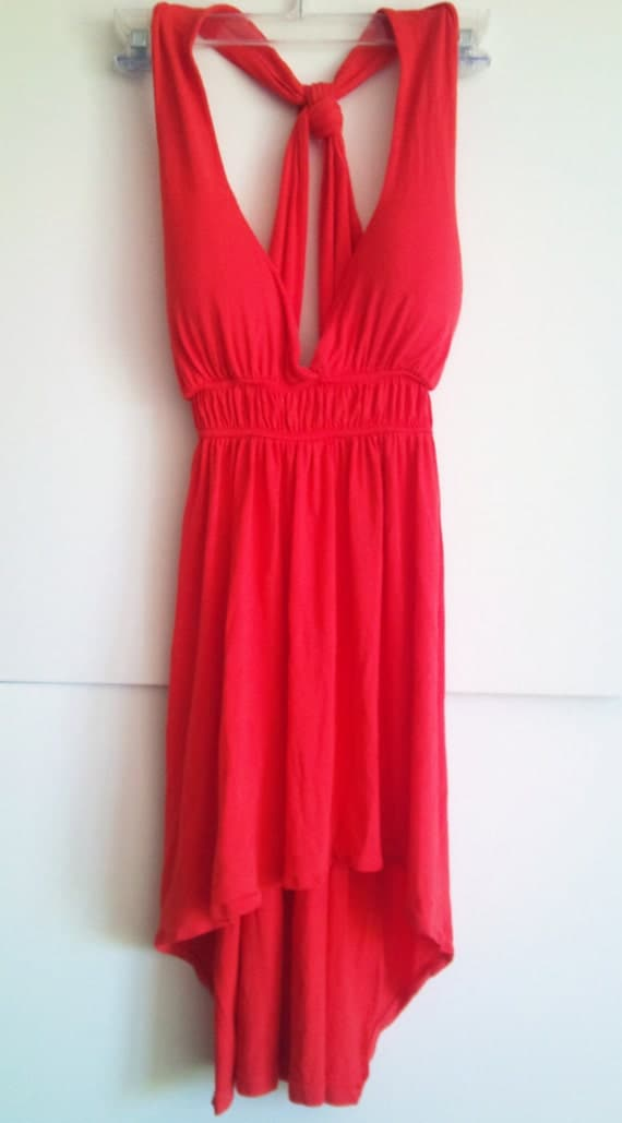 SALE// Coral High Low Sundress Dress Free Shipping