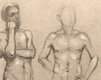 original drawing charcoal on paper standing man