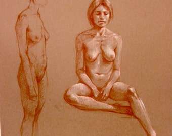 original drawing of seated woman, conte on paper