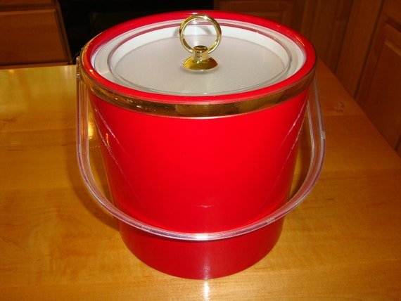 Red Insulated Ice Bucket 1980s Made in USA