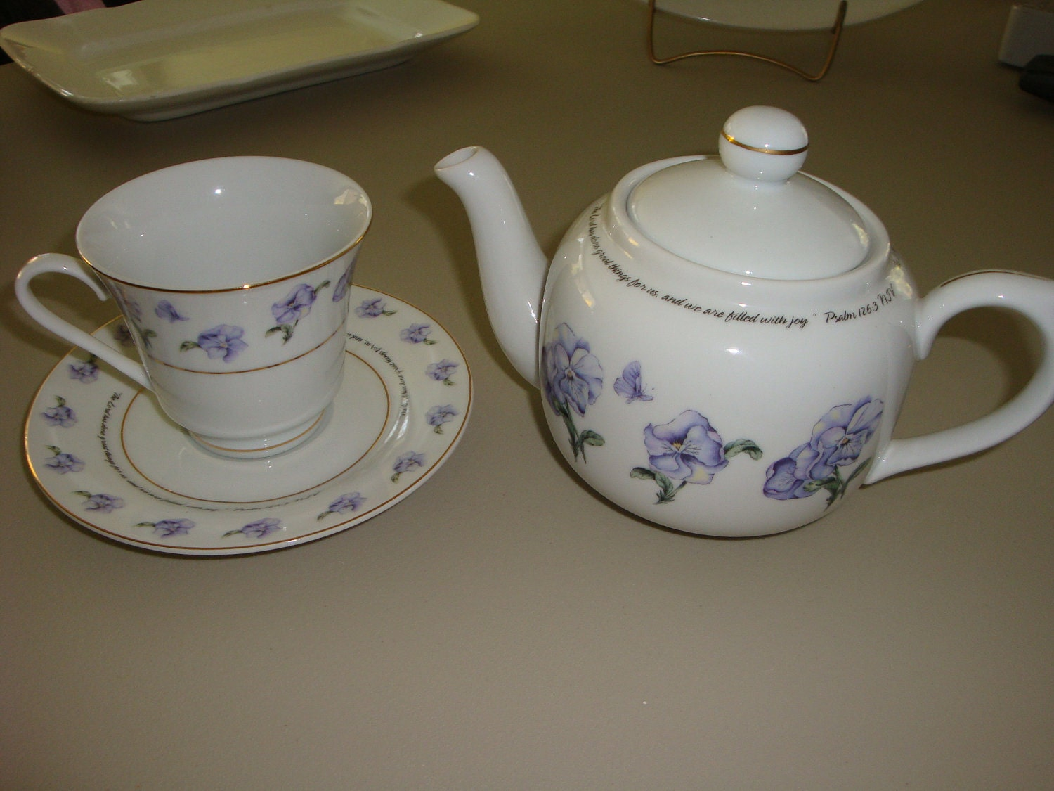 teapot and cup saucer set by dayspring hallmark. Black Bedroom Furniture Sets. Home Design Ideas