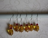 Yellow-Colored Painted Glass Stitch Markers