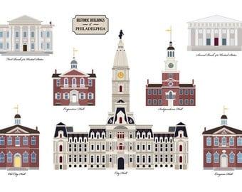 Historic Buildings of Philadelphia Print - 13'' x 19''