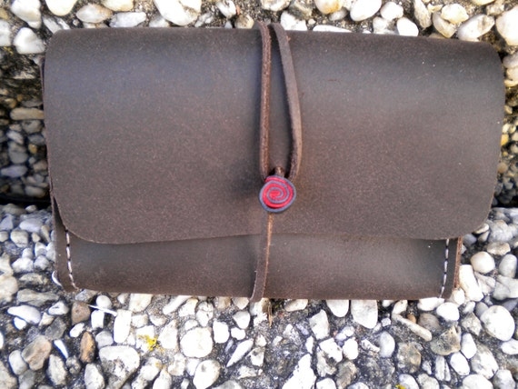 handmade leather dark brown wallet