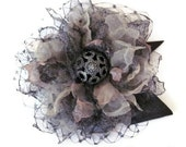 Fabric Flower Hair Clip / Victorian Steampunk Flower Hair Clip / Steampunk Bridal Hair Clip