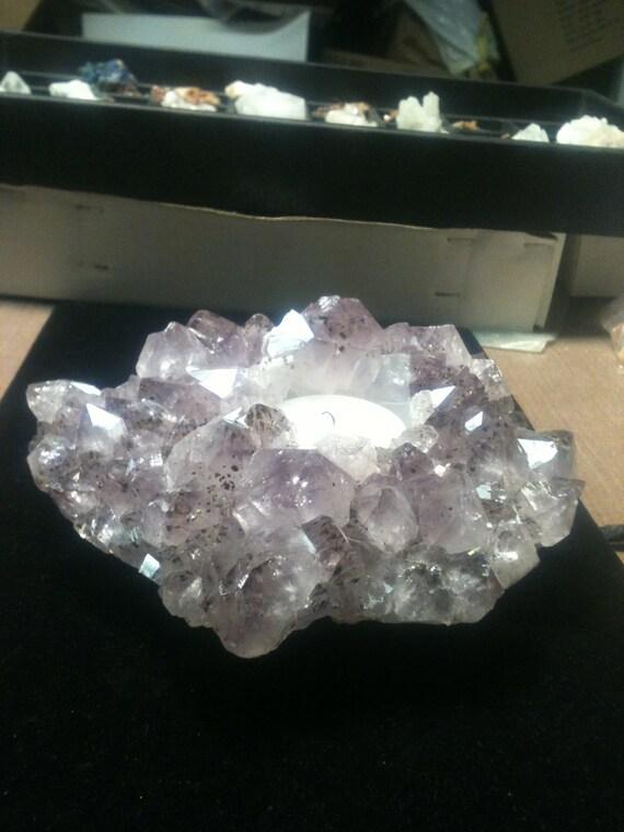 Natural Amethyst Crystal Cluster Votive Candle Holder