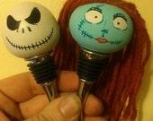 Nightmare Before Christmas Jack and Sally handmade wooden wine bottle stopper set