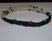 Price reduced, free shipping, no taxes,  handmade black and natural hemp seed bead choker necklace