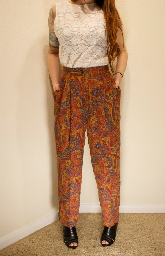 Vintage Liz Claiborne High Waisted Lightweight Paisley Southwestern Print Pants