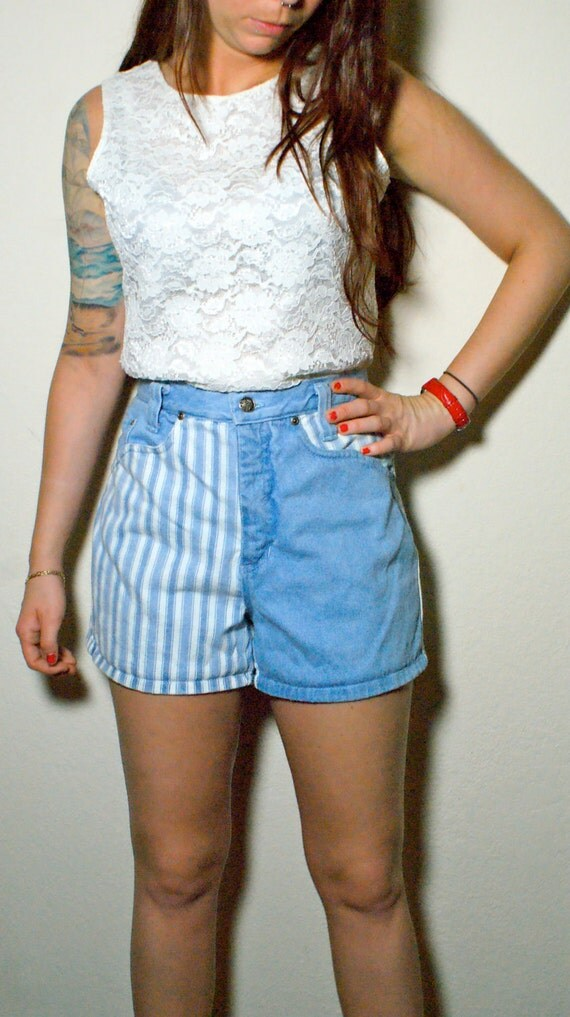 Vintage 80's High Waisted Denim Striped Shorts Size Large