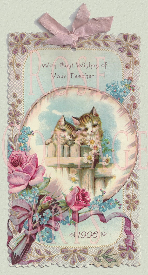 Digital Download Victorian Kittens Card Scrap Graphic Image