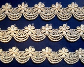 """Metallic Venice Galloon Lace Trim, Gold, 1"""" inch wide, 1 Yard, For Historical Costume, Dolls, Home Decor, Victorian Crafts"""
