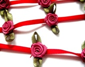 """Satin Flower Chain, 1"""" inch on 1/4"""" inch Ribbon,  Wine / Rose, 1 yard, For Dolls, Scrapbook, Home Decor, Apparel, Accessories"""