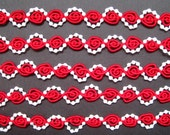 """Braid With Pearls, 1/2"""" inch,  Red / White Pearls, 1 yard, For Dolls, Home Decor, Accessories, Scrapbook, Victorian & Romantic Crafts"""