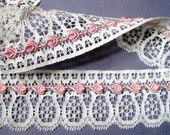 """Lace With Rose Buds Trim, Ivory / Pink, 1 5/8"""" inch wide, 1 Yard, For Dolls, Reborn, Accessories, Apparel, Home Decor, Victorian Crafts"""