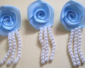 Roses With Pearl Strings, Baby Blue / White Pearls, x 6, For Heirloom, Reborn, Dolls, Accessories, Home Decor, Victorian Crafts