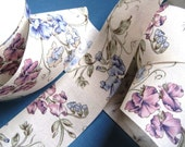 """Whimsical Floral Cotton Ribbon Trim, Multi Color, 1 7/8"""" inch wide, 1 yard, For Home Decor, Accessories, Victorian & Romantic Crafts"""