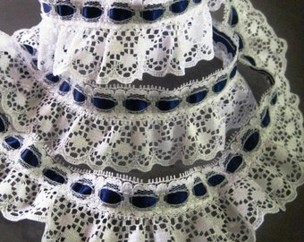 "Gathered Lace with Ribbon, White / Navy, 3/4"" Beading on 1 1/4"" Lace, 1 Yard For Dolls, Costumes, Accessories, Home Decor, Victorian Crafts"