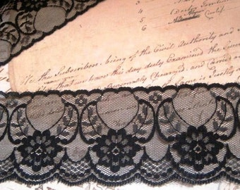 "Chantilly Floral Lace Trim, Black, 2 1/2"" inch wide, 1 Yard, For Home Decor, Apparel, Accessories, Victorian & Romantic Crafts"