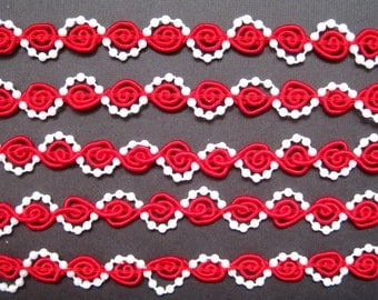 "Braid With Pearls, 1/2"" inch,  Red / White Pearls, 1 yard, For Dolls, Home Decor, Accessories, Scrapbook, Victorian & Romantic Crafts"