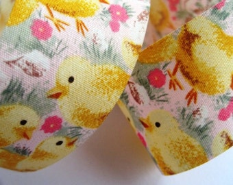 """Chicky Cotton Ribbon Trim, Yellow / Pink, 1 3/8"""" inch wide, 1 yard For Home Decor, Accessories, Scrapbook, Children Crafts"""
