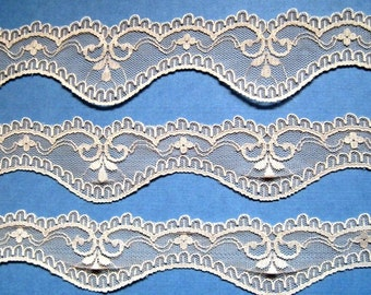 "Scalloped Lace Trim, Beige, 1 5/8"" inch wide, 1 Yard, For Mixed Media, Home Decor, Apparel, Accessories, Victorian & Romantic Crafts"