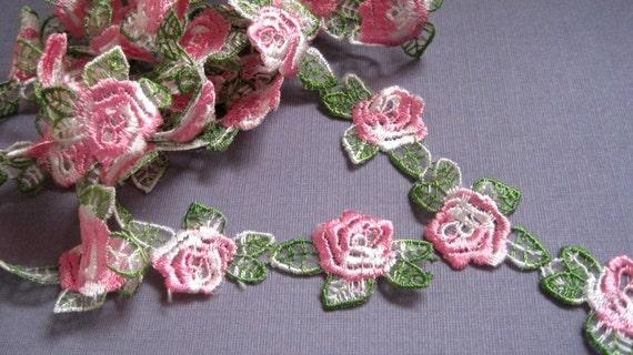 "Rosebud Venice Lace Trim, Pink, 1 1/8"" inch wide, 1 Yard, For Dolls, Scrapbook, Accessories, Home Decor, Victorian Crafts"
