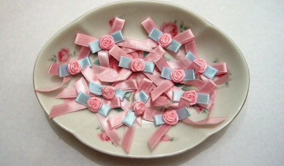Satin Ribbon Bows With Roses, Shabby Pink / Blue, x 12, Embellishment For Scrapbooks, Cards, Party Favors, Dolls, Costumes, Accessories