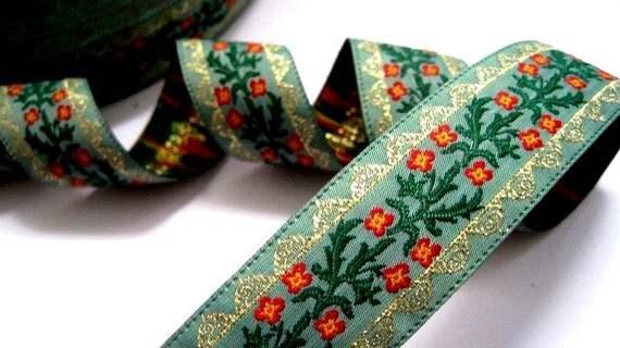 Jacquard Embroidered Ribbon, Seafoam / Green / Red / Yellow / Gold, 15/16 inch wide, 1 yard, For Home Decor, Accessories, Apparel