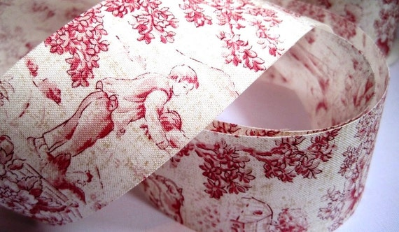"""Toile Cotton Ribbon Trim, Rose Pink, 1 7/8"""" inch wide, 1 yard, For Home Decor, Accessories, Scrapbook, Victorian & Romantic Crafts"""