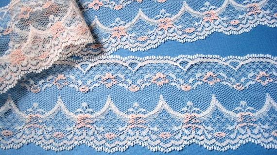 "Wide Lace Trim, Ecru / Peach, 2 3/4"" inch wide, 1 Yard, For Home Decor, Apparel, Accessories, Victorian & Romantic Crafts"