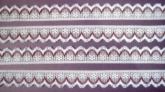 "Crochet Cluny Lace Trim,  White / Mauve, 1"" inch wide, 1 Yard, For Home Decor, Apparel, Accessories, Victorian & Romantic Crafts"