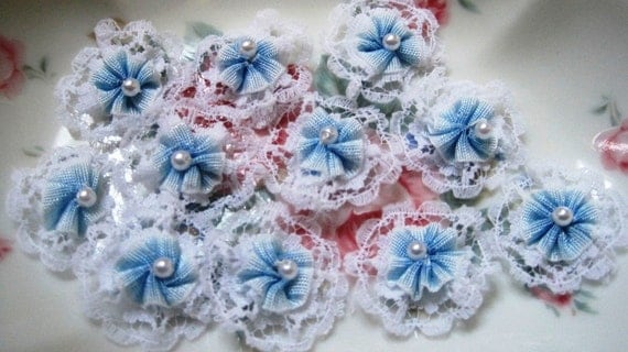 "Flower Appliques With Pearl , White / Blue, 1"" inch, x 10, For Heirloom, Reborn, Dolls, Accessories, Home Decor, Victorian Crafts"