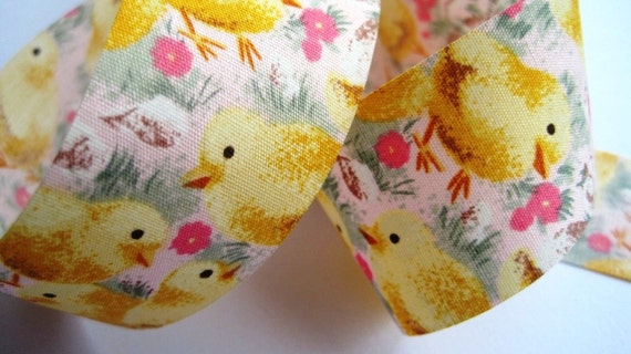 "Chicky Cotton Ribbon Trim, Yellow / Pink, 1 3/8"" inch wide, 1 yard For Home Decor, Accessories, Scrapbook, Children Crafts"