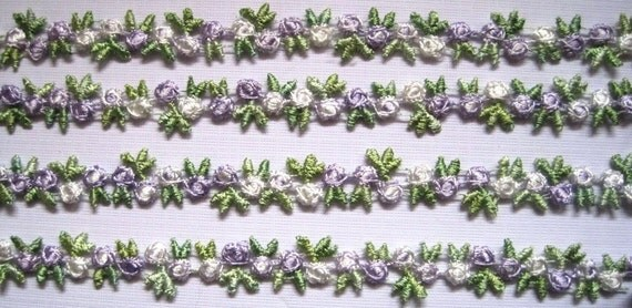 "Venice Lace Galloon Tri-Buds Chain, Lavender / Multi-Color, 5/8"" inch, 1 Yard, For Victorian & Romantic Crafts"