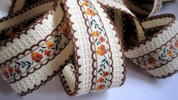 Jacquard Embroidered Floral Ribbon, Brown / Multicolor, 1 5/8 inch wide, 1 yard, For Home Decor, Accessories, Apparel, Scrapbook