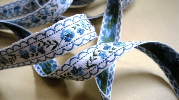 Jacquard Embroidered Floral Ribbon, Blue, 5/8 inch wide, 1 yard, For Home Decor, Accessories, Apparel, Scrapbook, Mixed Media