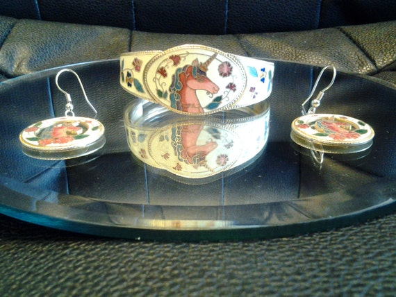 80s Unicorn Bracelet and Earring Set