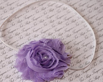 Lavender Baby Flower Headband, Newborn Headband, Baby Girl Flower Headband, Photography Prop