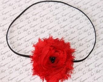 Red Chiffon Baby Flower Headband, Newborn Headband, Baby Girl Flower Headband, Photography Prop