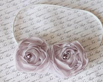 Lilac Chiffon Double Rose Baby Flower Headband, Newborn Headband, Baby Girl Flower Headband, Photography Prop