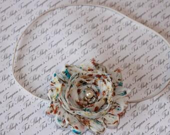 Vintage Cream Chiffon Baby Flower Headband, Newborn Headband, Baby Girl Flower Headband, Photography Prop