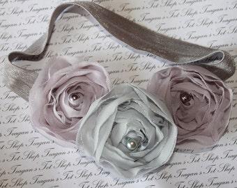 Gray and Lilac  Chiffon Baby Flower Headband, Newborn Headband, Baby Girl Flower Headband, Photography Prop