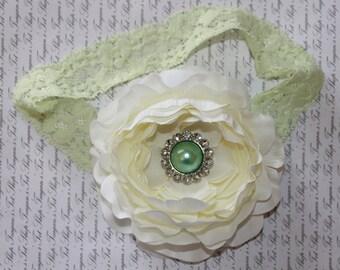 Mint Ivory Baby Flower Headband, Baby headband, Newborn Headband, Baby Girl Flower Headband, Photography Prop